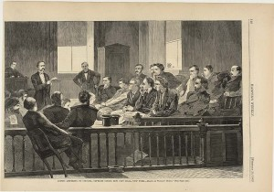 Winslow Homer, Jurors Listening to Counsel, Supreme Court, New City Hall, New York, Harper's Weekly, 20 Feb. 1869.